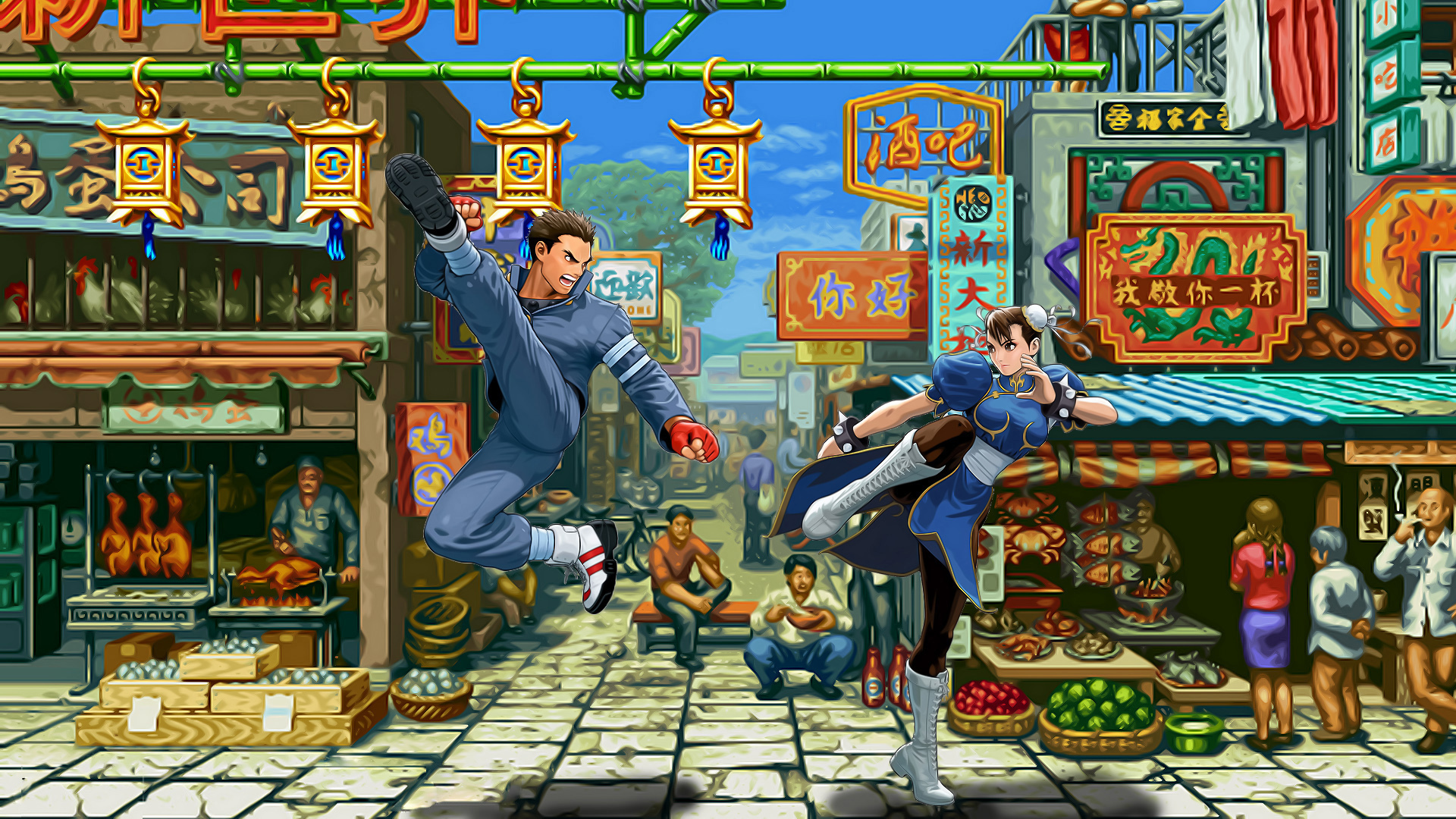 Обои Street Fighter бой на рынке